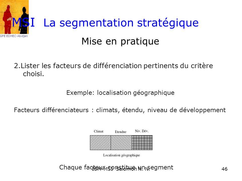 La segmentation stratégique Mise en pratique 2.Lister les facteurs de différenciation pertinents du critère choisi. Exemple: localisation géographique