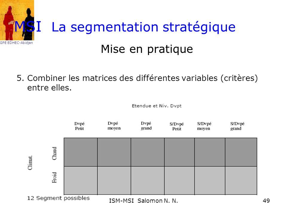 La segmentation stratégique Mise en pratique 5. Combiner les matrices des différentes variables (critères) entre elles. MSI GPE EDHEC-Abidjan 49ISM-MS
