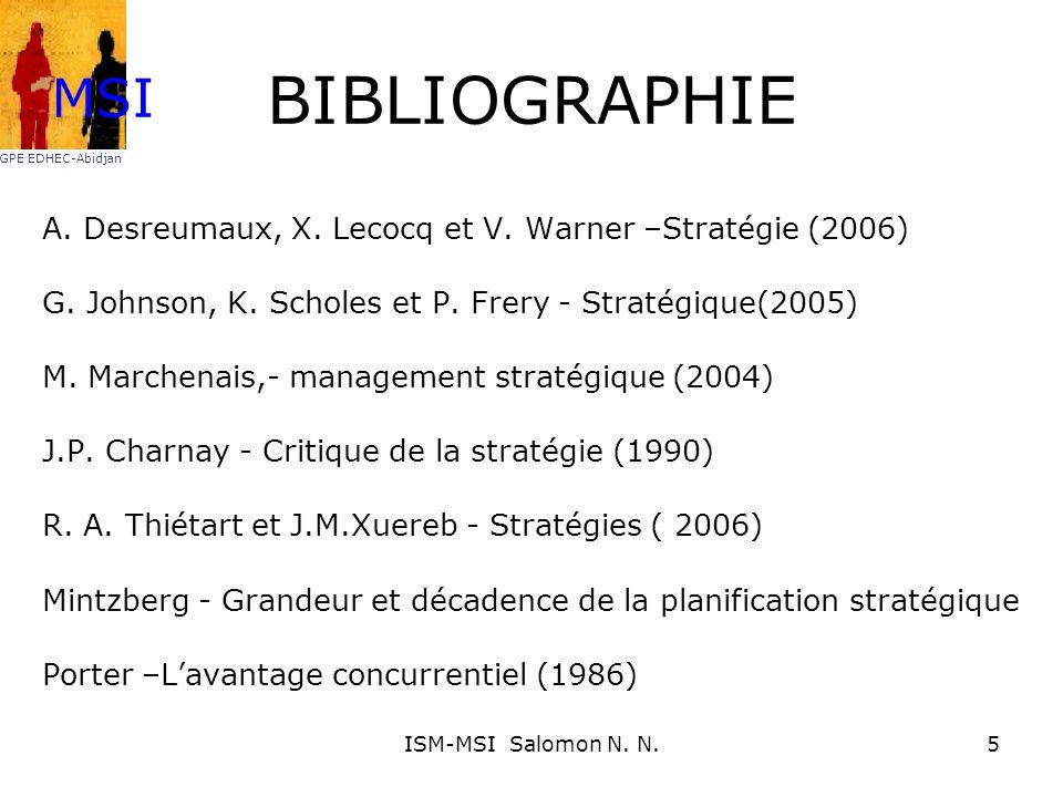 BIBLIOGRAPHIE A. Desreumaux, X. Lecocq et V. Warner –Stratégie (2006) G. Johnson, K. Scholes et P. Frery - Stratégique(2005) M. Marchenais,- managemen