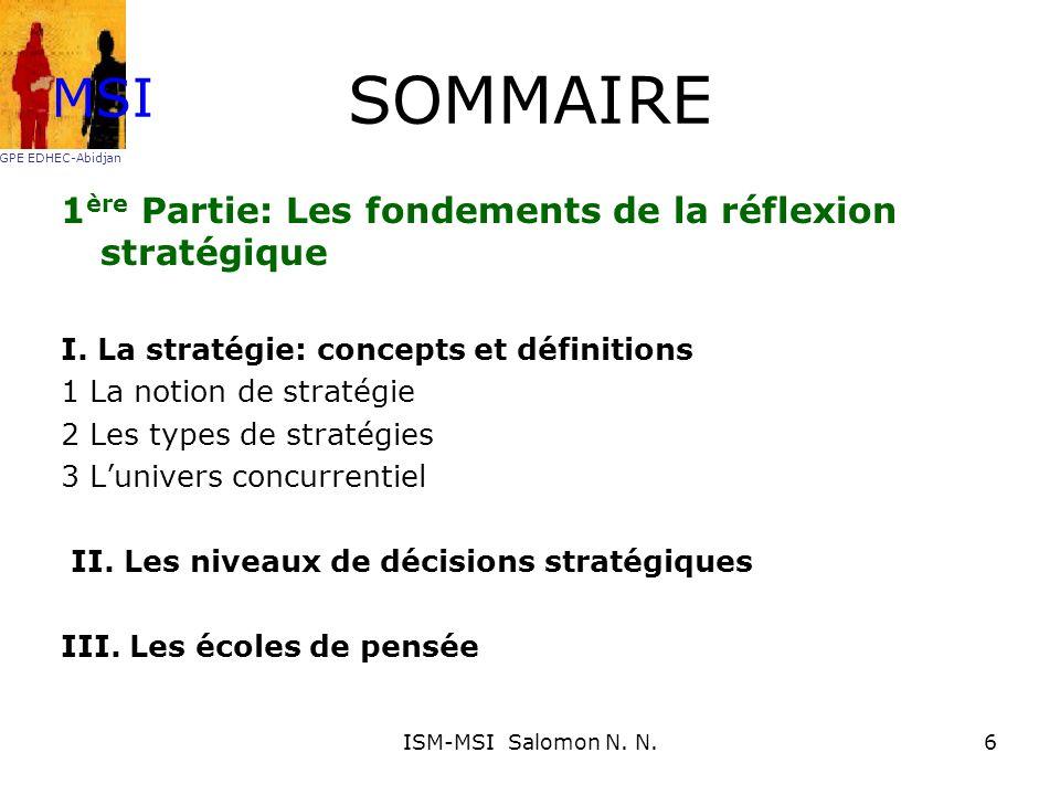Lécole économique La stratégie est la création dune position avantageuse génératrice de valeur par une organisation interne efficace MSI GPE EDHEC-Abidjan 27ISM-MSI Salomon N.