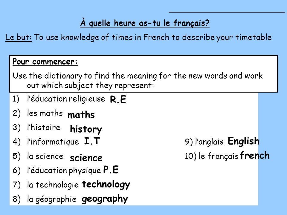 1)léducation religieuse 2)les maths 3)lhistoire 4)linformatique9) langlais 5)la science10) le français 6)léducation physique 7)la technologie 8)la géo