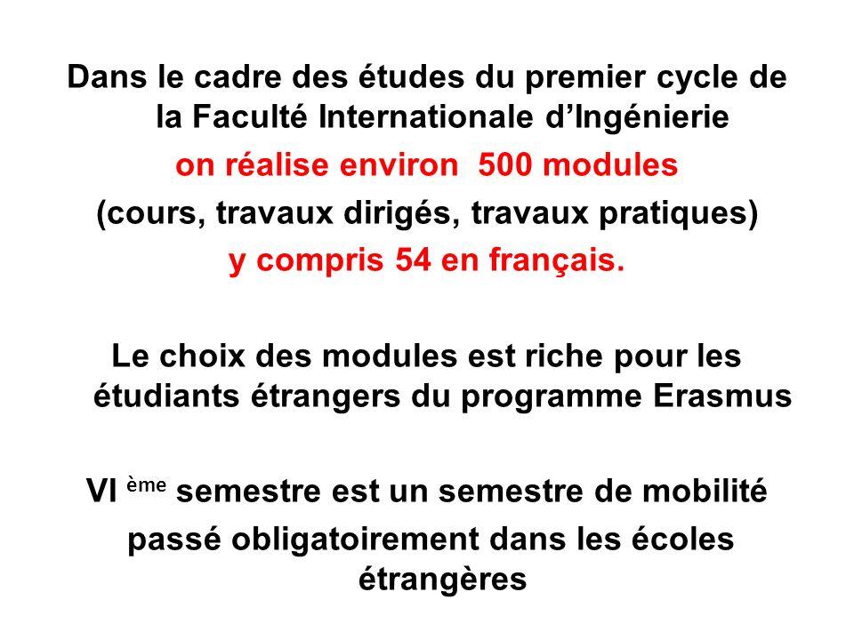 Dans le cadre des études du premier cycle de la Faculté Internationale dIngénierie on réalise environ 500 modules (cours, travaux dirigés, travaux pra