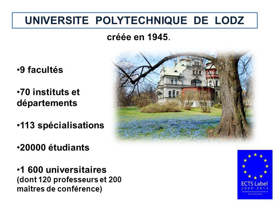 UNIVERSITE POLYTECHNIQUE DE LODZ 9 facultés 70 instituts et départements 113 spécialisations 20000 étudiants 1 600 universitaires (dont 120 professeur