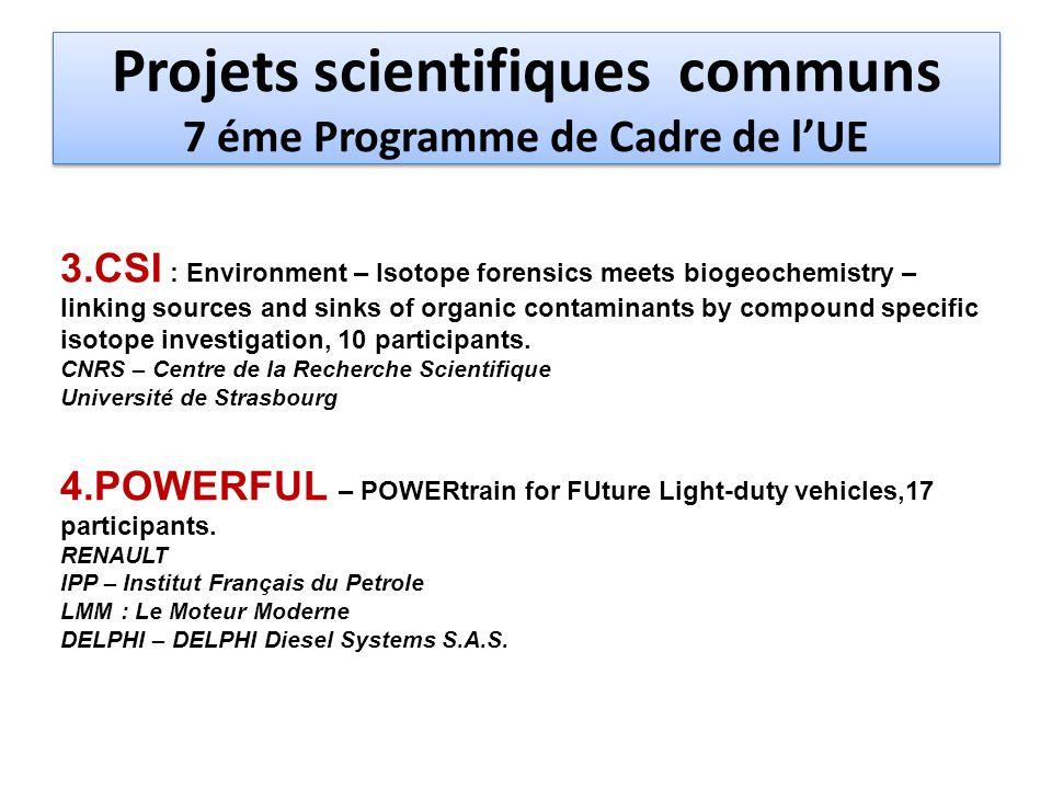 Projets scientifiques communs 7 éme Programme de Cadre de lUE 5.
