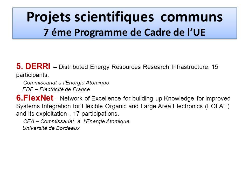 Projets scientifiques communs 7 éme Programme de Cadre de lUE 5. DERRI – Distributed Energy Resources Research Infrastructure, 15 participants. Commis