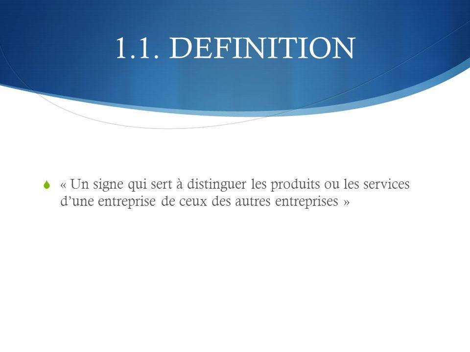 1.1. DEFINITION « Un signe qui sert à distinguer les produits ou les services dune entreprise de ceux des autres entreprises »