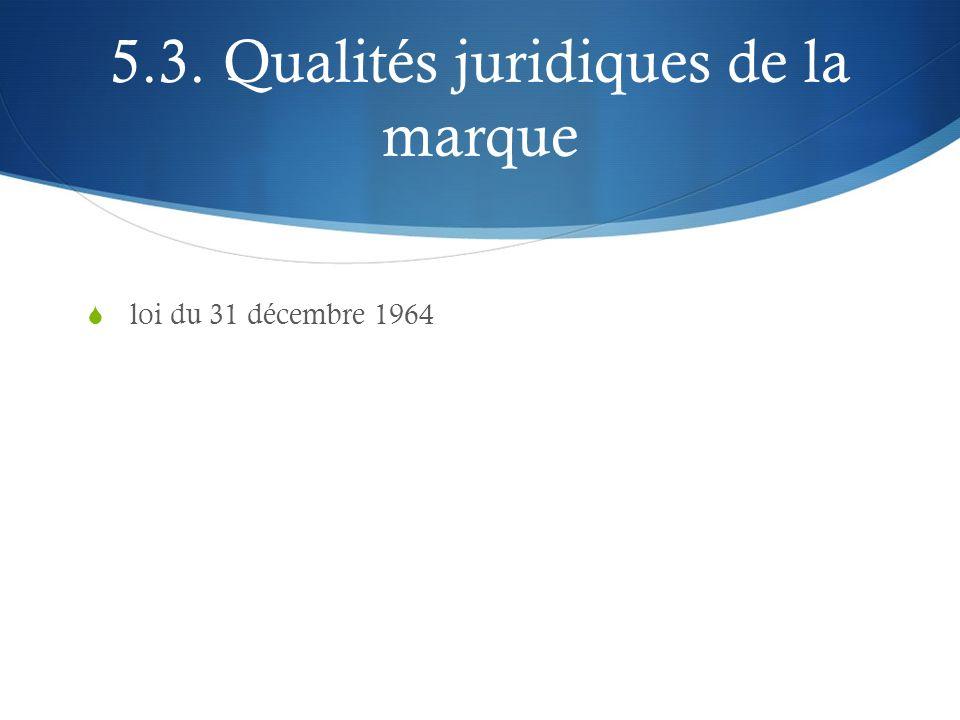 5.3. Qualités juridiques de la marque loi du 31 décembre 1964