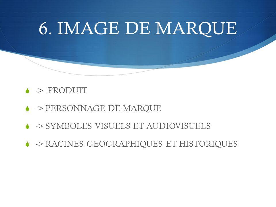6. IMAGE DE MARQUE -> PRODUIT -> PERSONNAGE DE MARQUE -> SYMBOLES VISUELS ET AUDIOVISUELS -> RACINES GEOGRAPHIQUES ET HISTORIQUES