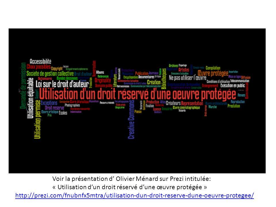 http://prezi.com/fnubnfx5mtra/utilisation-dun-droit-reserve-dune-oeuvre-protegee/ Voir la présentation d Olivier Ménard sur Prezi intitulée: « Utilisation dun droit réservé dune œuvre protégée »