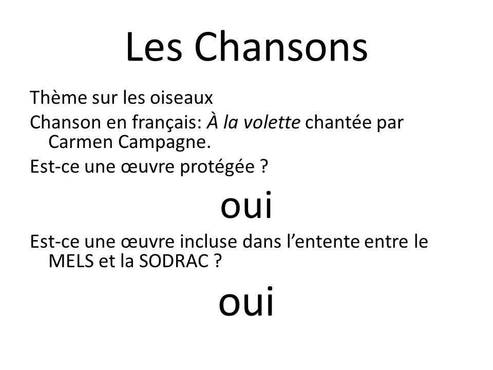 Les Chansons Thème sur les oiseaux Chanson en français: À la volette chantée par Carmen Campagne. Est-ce une œuvre protégée ? oui Est-ce une œuvre inc