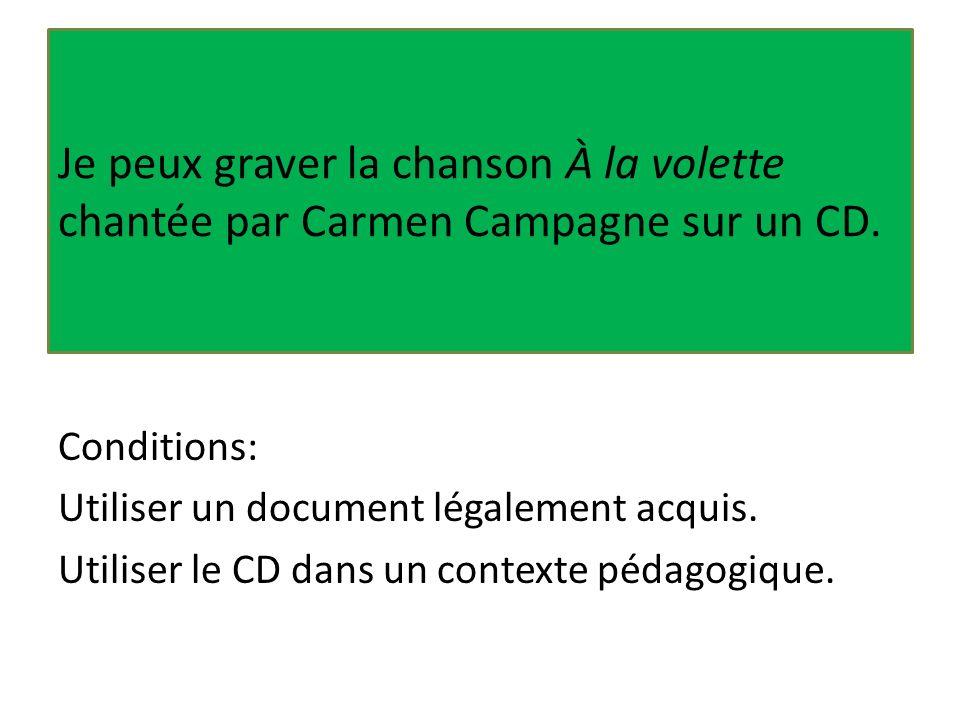 Je peux graver la chanson À la volette chantée par Carmen Campagne sur un CD. Conditions: Utiliser un document légalement acquis. Utiliser le CD dans