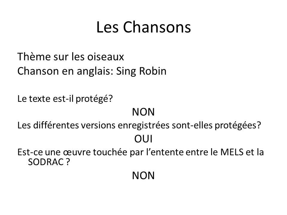 Les Chansons Thème sur les oiseaux Chanson en anglais: Sing Robin Le texte est-il protégé? NON Les différentes versions enregistrées sont-elles protég