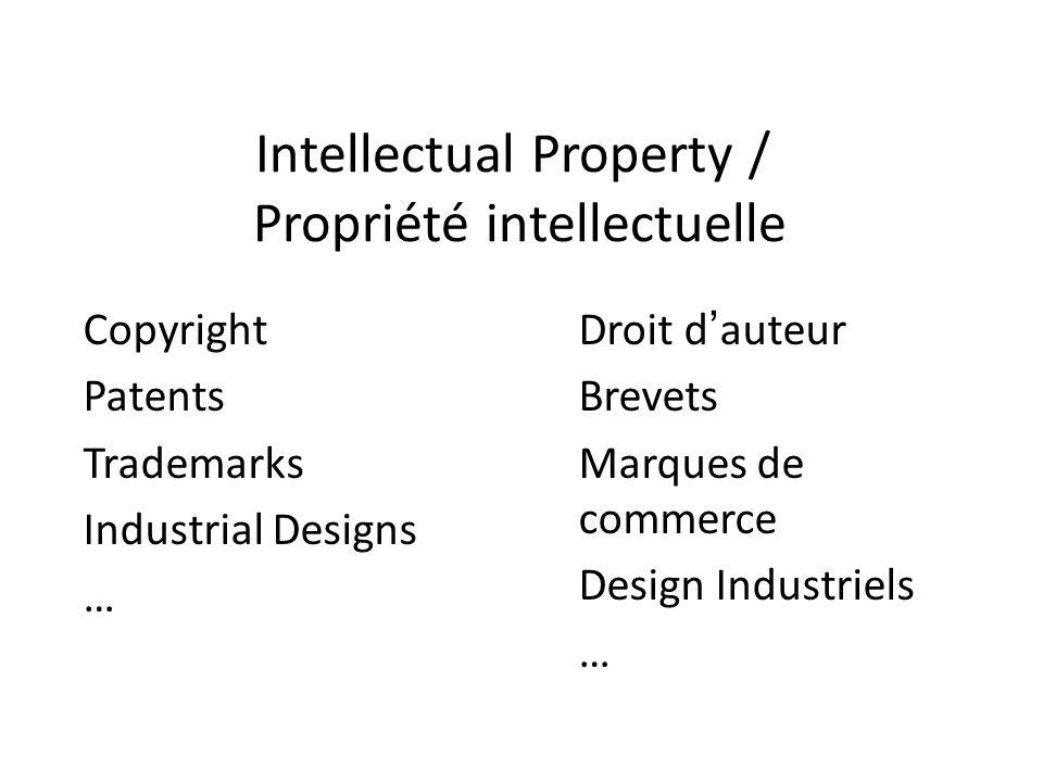 Intellectual Property / Propriété intellectuelle Droit dauteur Brevets Marques de commerce Design Industriels … Copyright Patents Trademarks Industrial Designs …