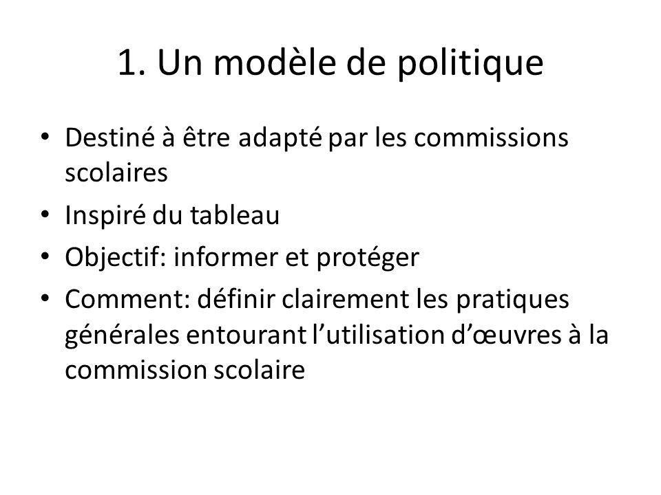 1. Un modèle de politique Destiné à être adapté par les commissions scolaires Inspiré du tableau Objectif: informer et protéger Comment: définir clair