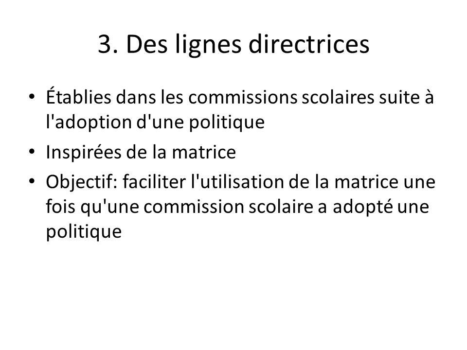 3. Des lignes directrices Établies dans les commissions scolaires suite à l'adoption d'une politique Inspirées de la matrice Objectif: faciliter l'uti