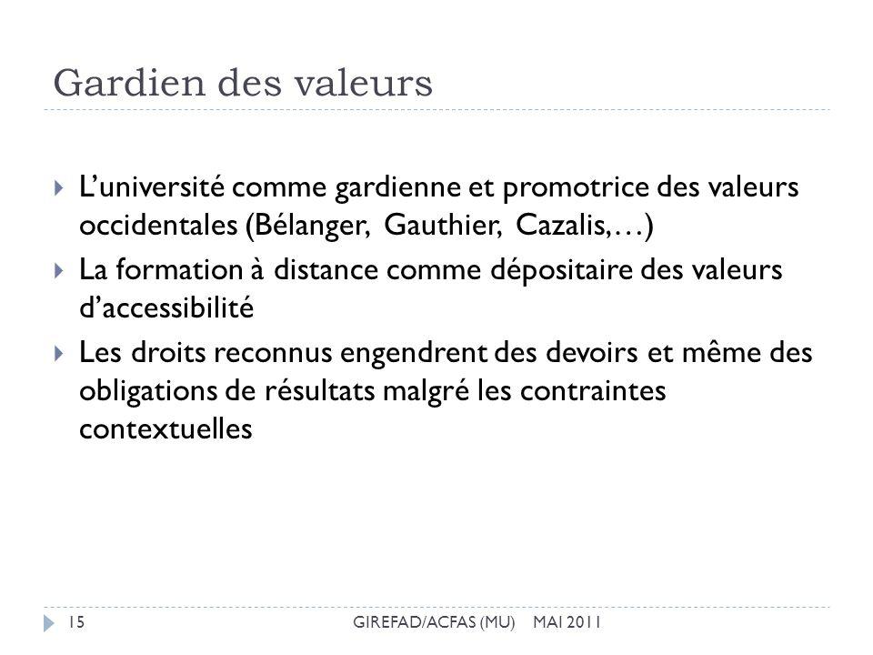 Gardien des valeurs GIREFAD/ACFAS (MU) MAI 201115 Luniversité comme gardienne et promotrice des valeurs occidentales (Bélanger, Gauthier, Cazalis,…) L