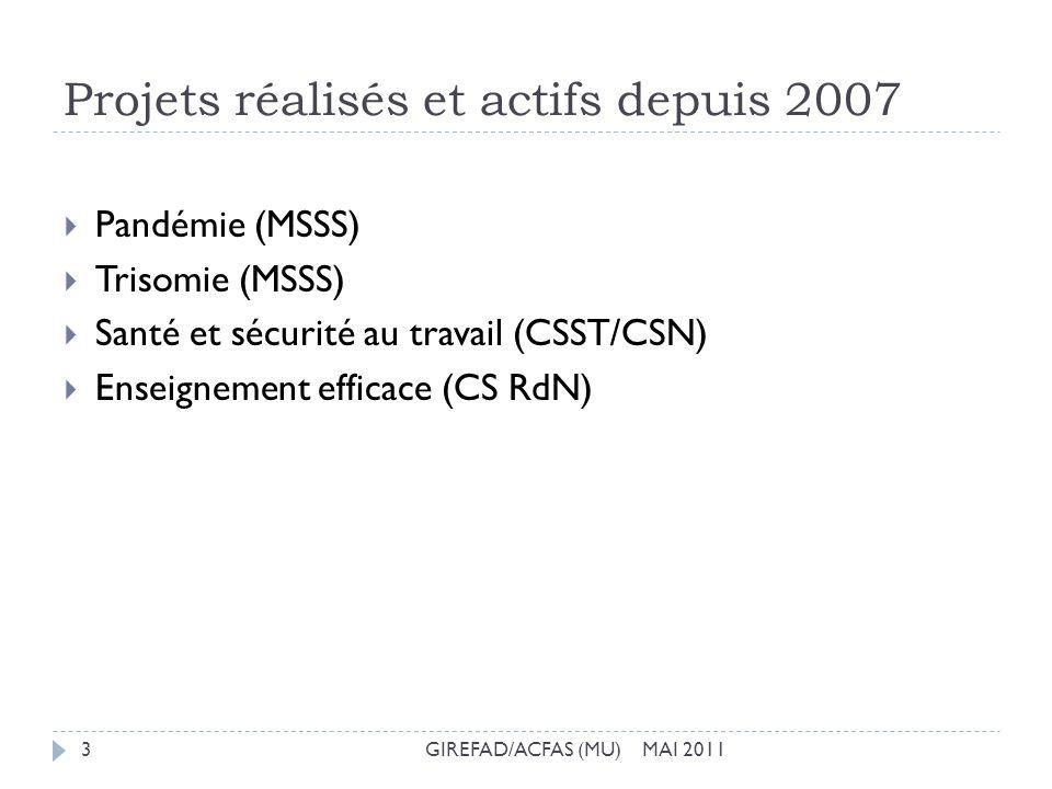 Projets réalisés et actifs depuis 2007 GIREFAD/ACFAS (MU) MAI 20113 Pandémie (MSSS) Trisomie (MSSS) Santé et sécurité au travail (CSST/CSN) Enseigneme
