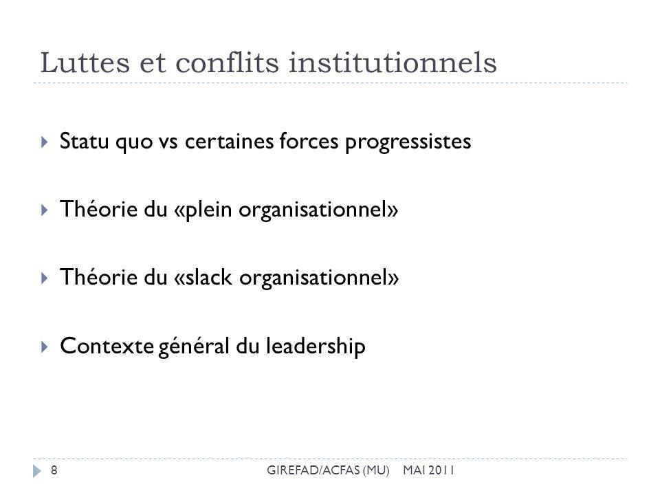 Luttes et conflits institutionnels GIREFAD/ACFAS (MU) MAI 20118 Statu quo vs certaines forces progressistes Théorie du «plein organisationnel» Théorie