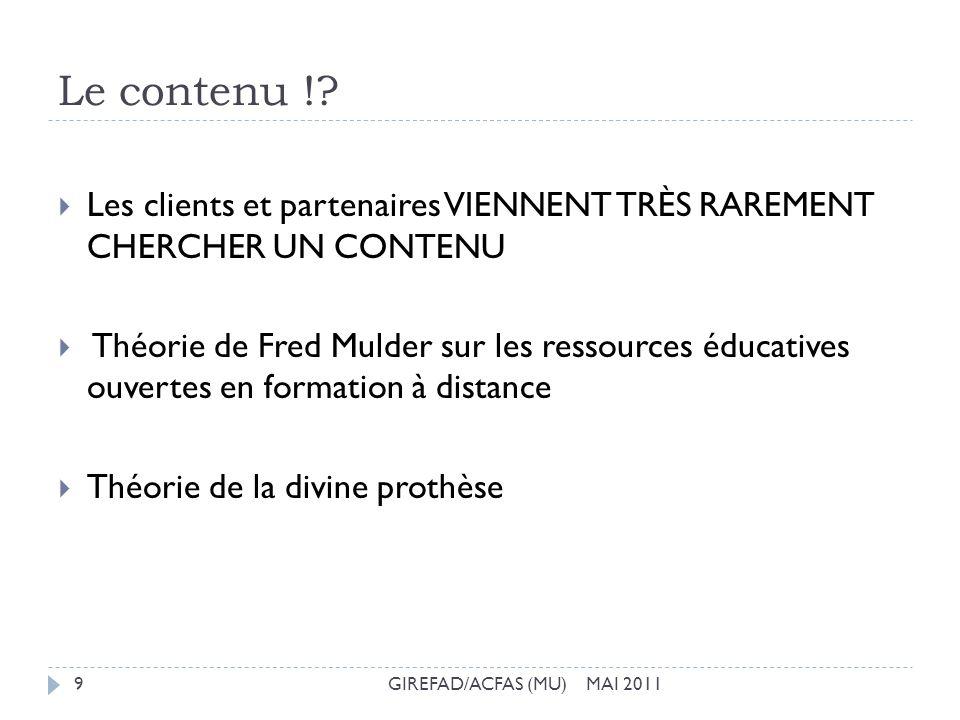 Le contenu !? GIREFAD/ACFAS (MU) MAI 20119 Les clients et partenaires VIENNENT TRÈS RAREMENT CHERCHER UN CONTENU Théorie de Fred Mulder sur les ressou