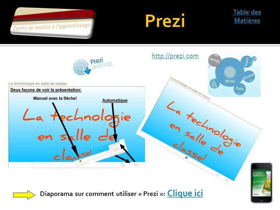 Table des Matières Diaporama sur comment utiliser « Prezi »: Clique ici Clique ici http://prezi.com