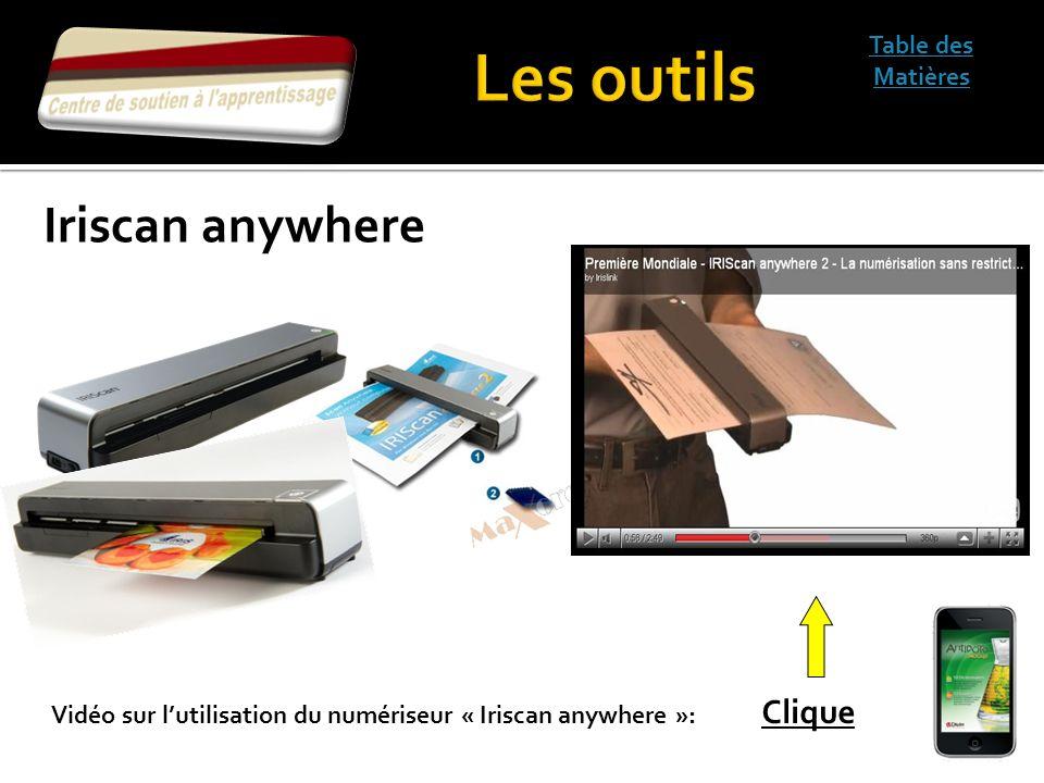 Table des Matières Vidéo sur lutilisation du numériseur « Iriscan anywhere »: Clique Iriscan anywhere