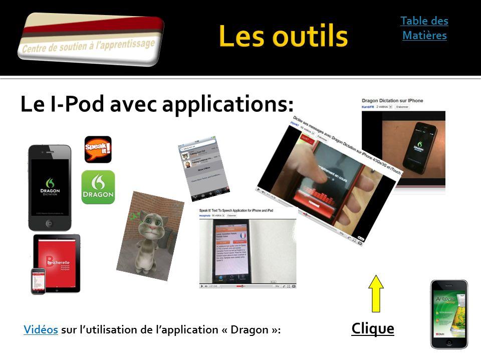 Table des Matières Vidéos sur lutilisation de lapplication « Dragon »: Clique Le I-Pod avec applications: