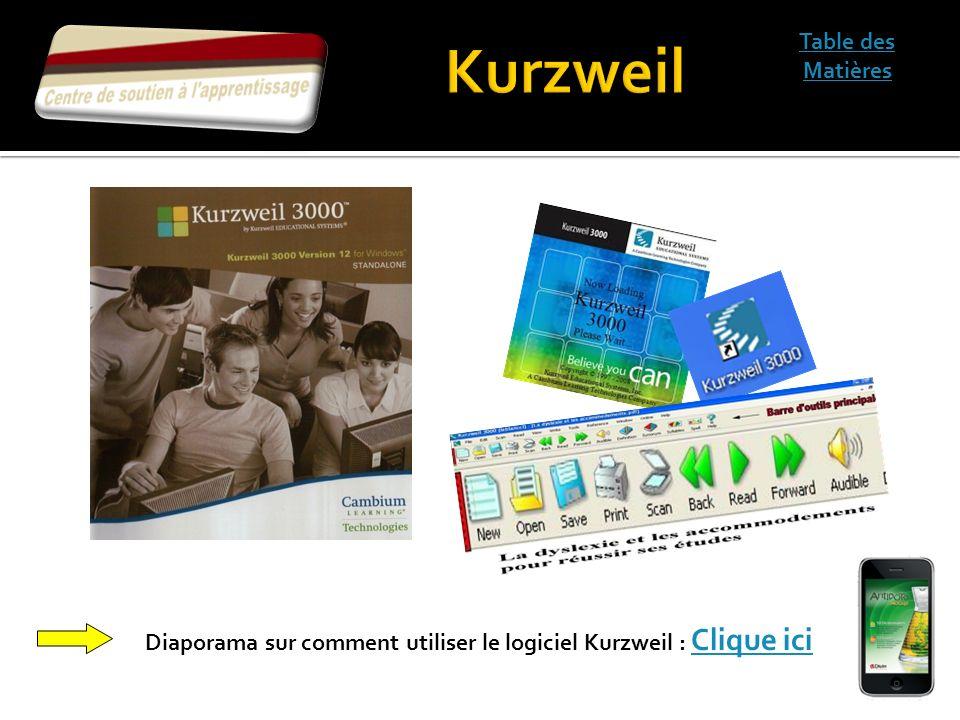 Table des Matières Diaporama sur comment utiliser le logiciel Kurzweil : Clique ici Clique ici