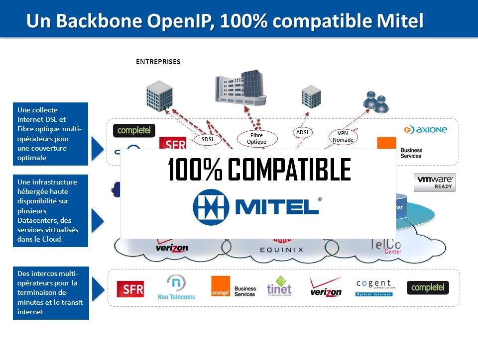 3 Un Backbone OpenIP, 100% compatible Mitel Conférence Centrex Messagerie SVI SIP Trunking Certifié Mitel Chat Collaboration UCaaS Mitel ENTREPRISES A