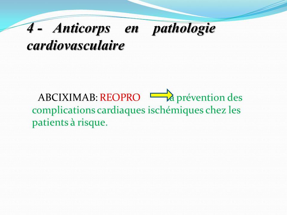 4 -Anticorps en pathologie cardiovasculaire 4 - Anticorps en pathologie cardiovasculaire ABCIXIMAB: REOPRO la prévention des complications cardiaques