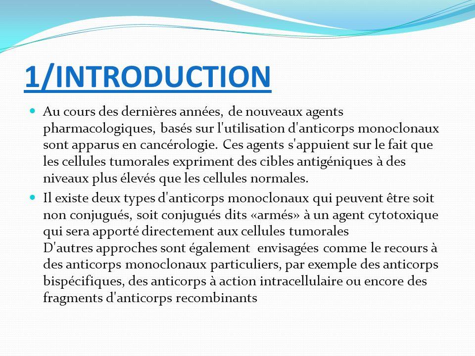 1/INTRODUCTION Au cours des dernières années, de nouveaux agents pharmacologiques, basés sur l'utilisation d'anticorps monoclonaux sont apparus en can