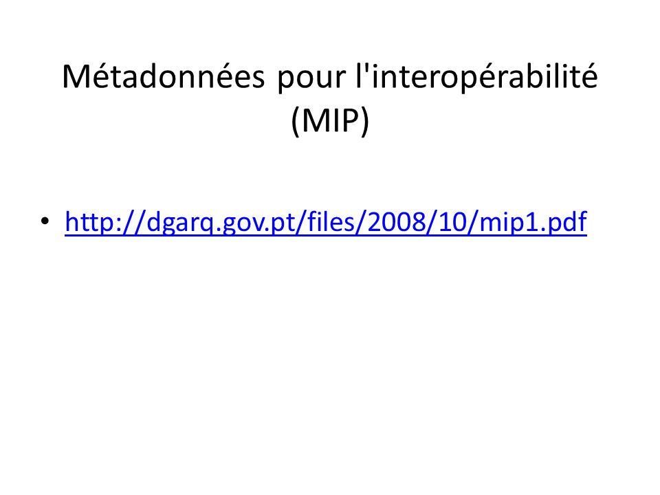 Métadonnées pour l interopérabilité (MIP) http://dgarq.gov.pt/files/2008/10/mip1.pdf