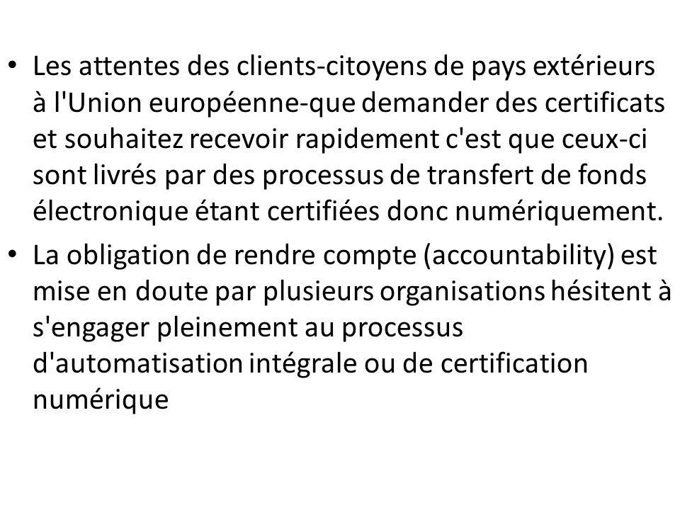 Les attentes des clients-citoyens de pays extérieurs à l Union européenne-que demander des certificats et souhaitez recevoir rapidement c est que ceux-ci sont livrés par des processus de transfert de fonds électronique étant certifiées donc numériquement.
