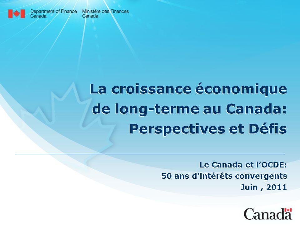 La croissance économique de long-terme au Canada: Perspectives et Défis Le Canada et lOCDE: 50 ans dintérêts convergents Juin, 2011 Le Canada et lOCDE: 50 ans dintérêts convergents Juin, 2011