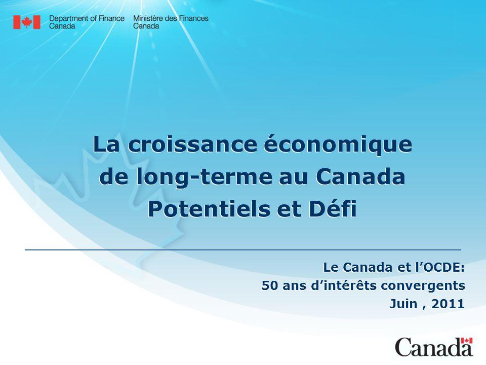 La croissance économique de long-terme au Canada Potentiels et Défi Le Canada et lOCDE: 50 ans dintérêts convergents Juin, 2011 Le Canada et lOCDE: 50 ans dintérêts convergents Juin, 2011