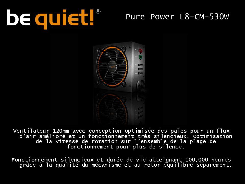 Ventilateur 120mm avec conception optimisée des pales pour un flux dair amélioré et un fonctionnement très silencieux.