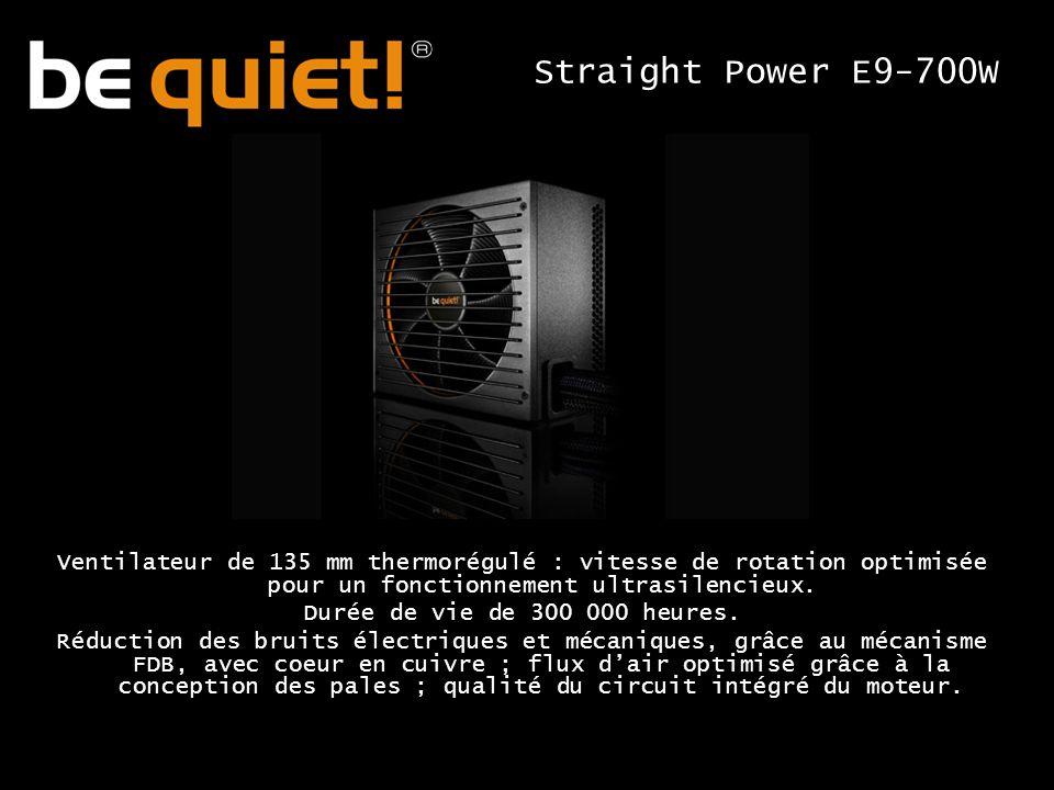 Ventilateur de 135 mm thermorégulé : vitesse de rotation optimisée pour un fonctionnement ultrasilencieux.