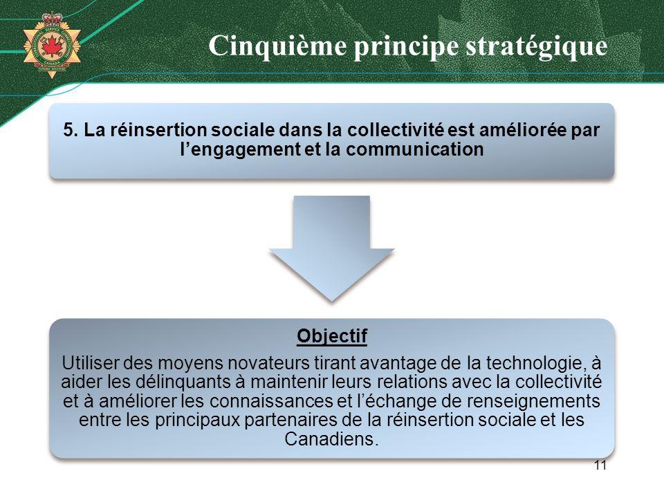 Cinquième principe stratégique 5. La réinsertion sociale dans la collectivité est améliorée par lengagement et la communication Objectif Utiliser des