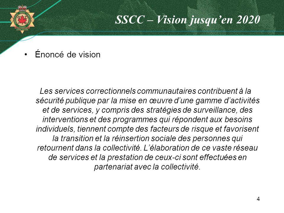SSCC – Vision jusquen 2020 Énoncé de vision Les services correctionnels communautaires contribuent à la sécurité publique par la mise en œuvre dune ga