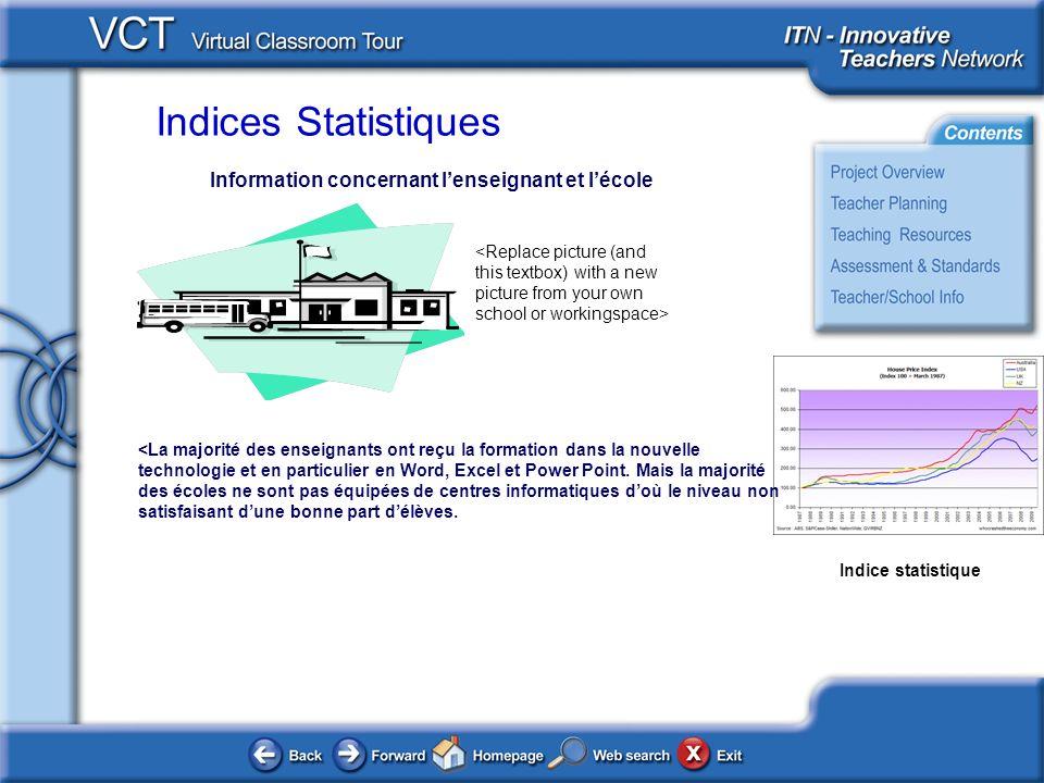 Indices Statistiques Indice statistique Information concernant lenseignant et lécole <La majorité des enseignants ont reçu la formation dans la nouvelle technologie et en particulier en Word, Excel et Power Point.