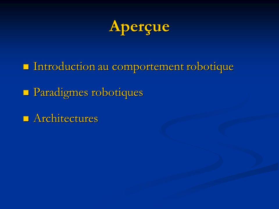 Aperçue Introduction au comportement robotique Introduction au comportement robotique Paradigmes robotiques Paradigmes robotiques Architectures Archit