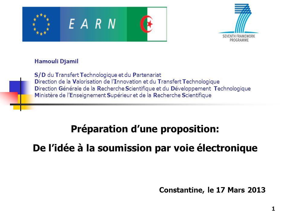 Hamouli Djamil S/D du Transfert Technologique et du Partenariat Direction de la Valorisation de lInnovation et du Transfert Technologique Direction Gé