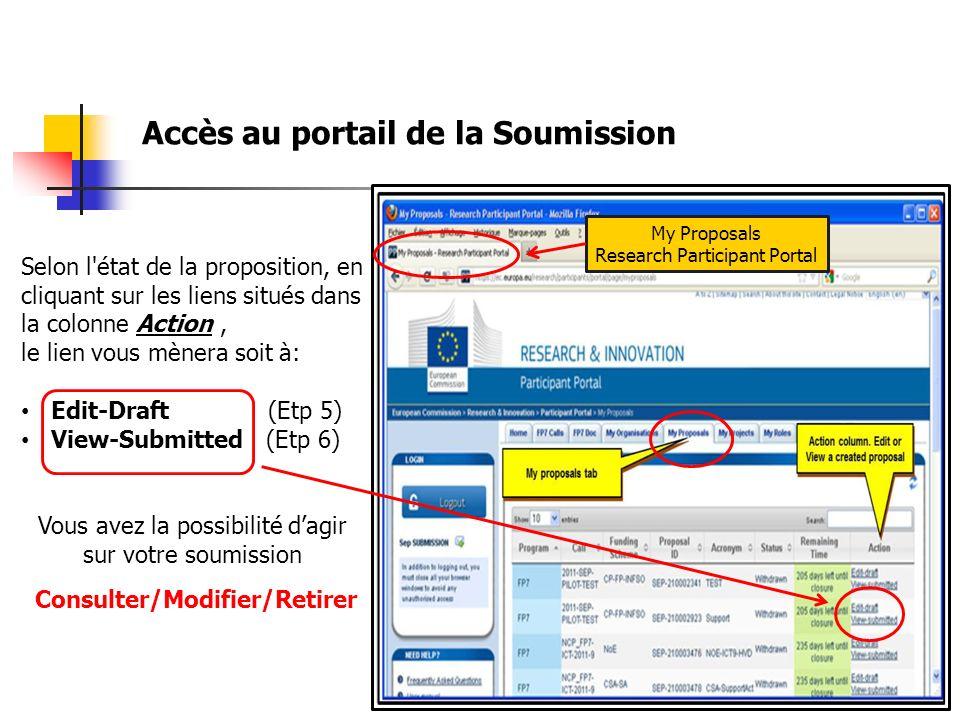 Selon l état de la proposition, en cliquant sur les liens situés dans la colonne Action, le lien vous mènera soit à: Edit-Draft (Etp 5) View-Submitted (Etp 6) Vous avez la possibilité dagir sur votre soumission Consulter/Modifier/Retirer Accès au portail de la Soumission My Proposals Research Participant Portal