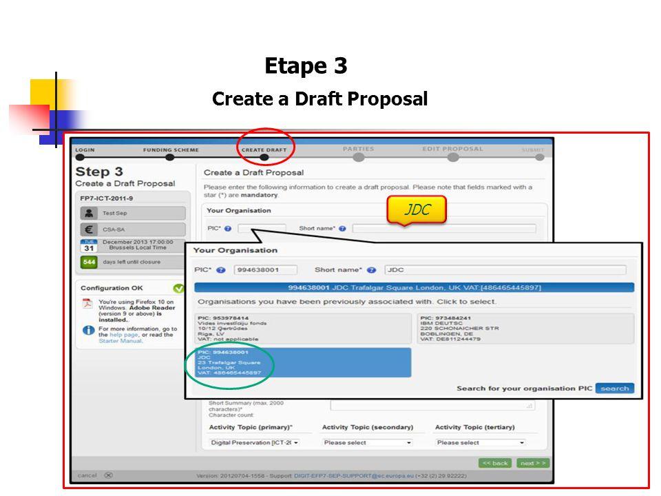 Etape 3 Create a Draft Proposal JDC