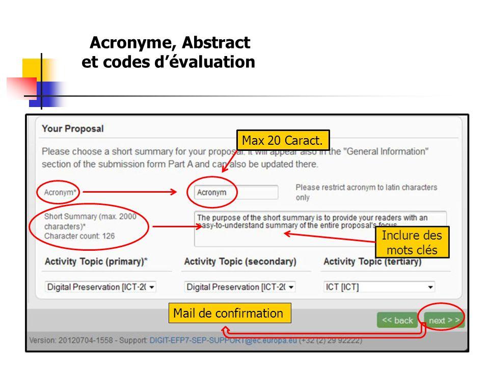 Acronyme, Abstract et codes dévaluation Max 20 Caract. Inclure des mots clés Mail de confirmation
