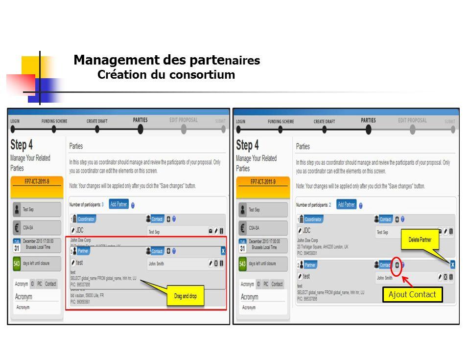 Ajout Contact Management des parte naires Création du consortium