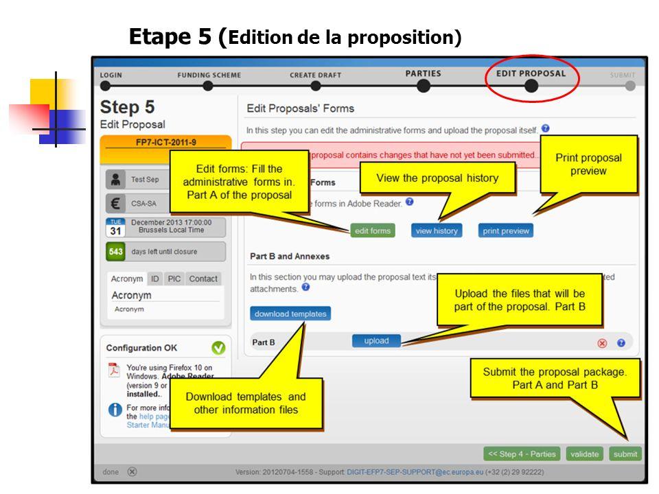 Etape 5 ( Edition de la proposition)