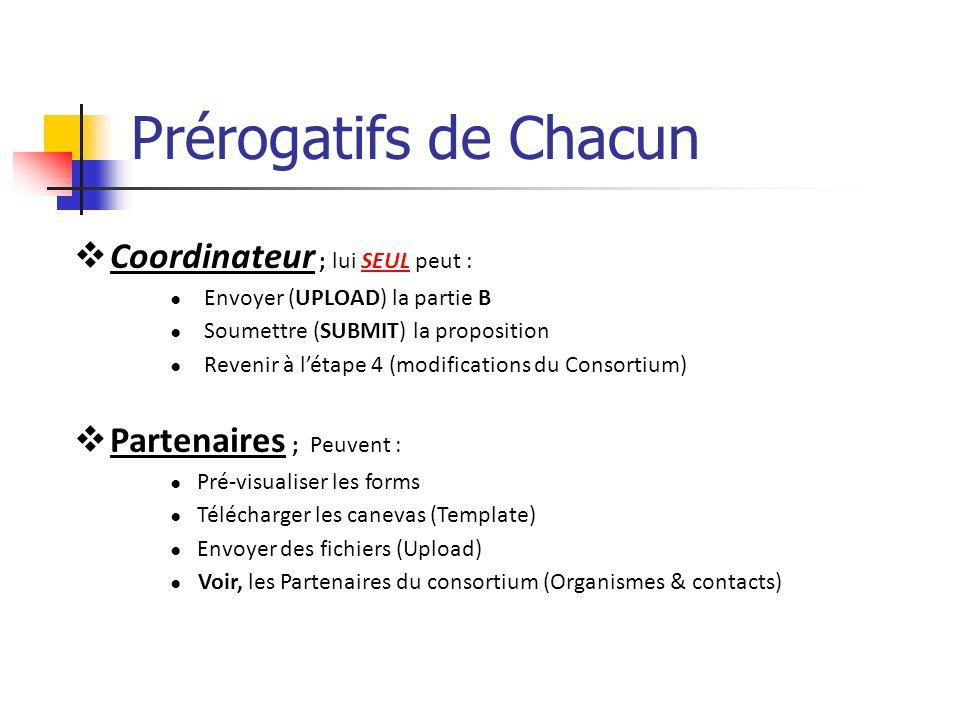 Prérogatifs de Chacun Coordinateur ; lui SEUL peut : Envoyer (UPLOAD) la partie B Soumettre (SUBMIT) la proposition Revenir à létape 4 (modifications