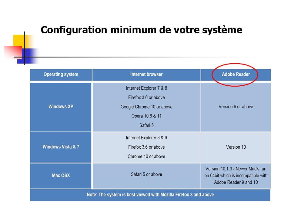 Configuration minimum de votre système