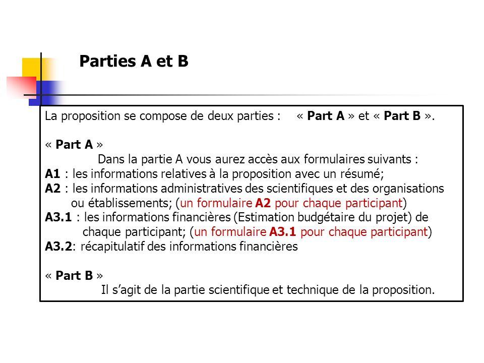 La proposition se compose de deux parties : « Part A » et « Part B ». « Part A » Dans la partie A vous aurez accès aux formulaires suivants : A1 : les