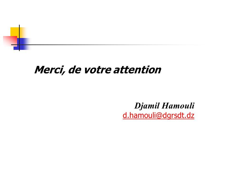 Merci, de votre attention Djamil Hamouli d.hamouli@dgrsdt.dz